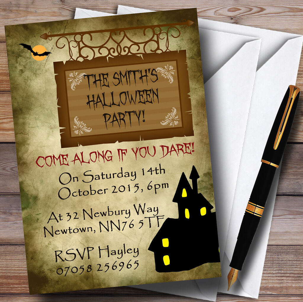 Casa Embrujada Personalizado Fiesta De Halloween Invitaciones