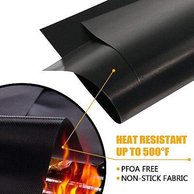 Black BBQ Grill Mat Non-Stick Bake Grilling Mats Barbecue Pad Teflon Fiber -US