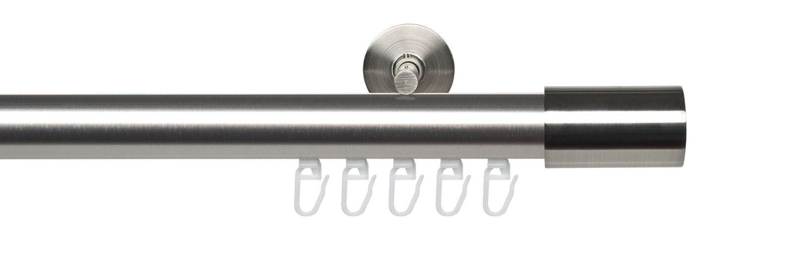 Gardinenstange Innenlauf 1 läufig Vorhangstange Metall Metall Metall Silber Edelstahl-Optik 28b459