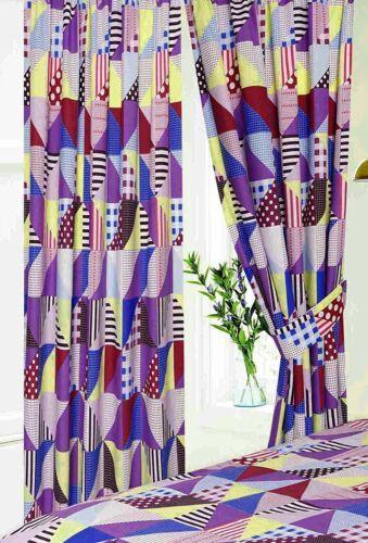 Géométrique 66 X 72 Berry lilas rouge jaune prêts et PLIS SERRÉS RIDEAUX Multi