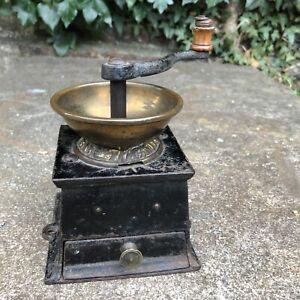 Antique Hand Crank Coffee GRINDER IRON BRASS MILL Vintage Kitchen Kitchenalia
