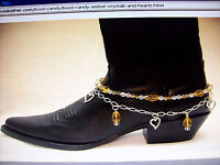 Cowboy & Motorcycle Boot Anklets Gl1800 Amber Crystals And Hearts