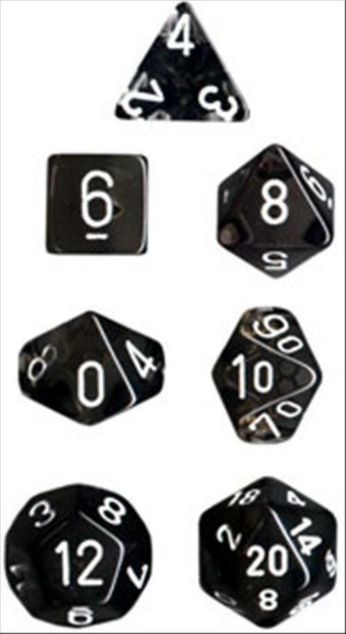 Chessex durchscheinende polyhedral würfel set smoke mit weiß - nummern 7 sterben setzen