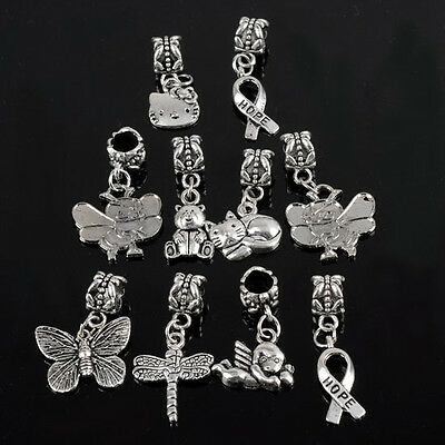 10pc Tibetan Silver Mix Pattern Dangle Beads For Charms Bracelet