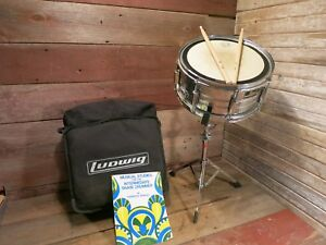 Vintage-PEARL-EXPORT-SERIES-Chrome-14-034-x-6-5-034-Snare-Drum-8-Lug-With-Ludwig-Stand