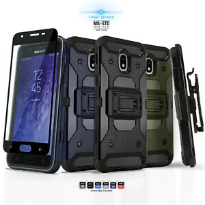 promo code 76307 d8894 Details about for SAMSUNG GALAXY J7 CROWN/STAR/REFINE (2018), Tank Phone  Case & Holster +Glass