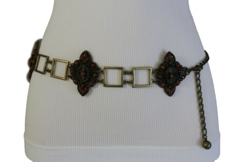 New Women Vintage Antique Gold Metal Band Fashion Belt Brown Flower Charms S M L