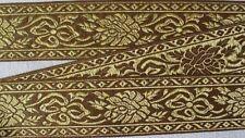 Gold Leaves on Fuchsia Jacquard Trim Metallic