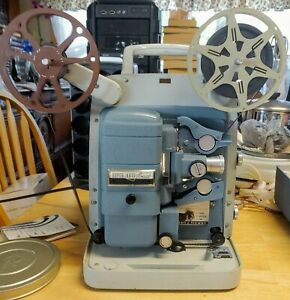 VINTAGE BELL & HOWELL MOVIE PROJECTOR 363 SUPER AUTO LOAD 8MM BLUE Tested/Works