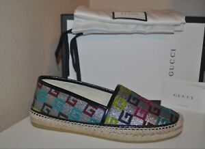ac7cc55acf7 NIB GUCCI Pilar G Logo Espadrille Flat Shoe 40 - 10 US Multi Colored