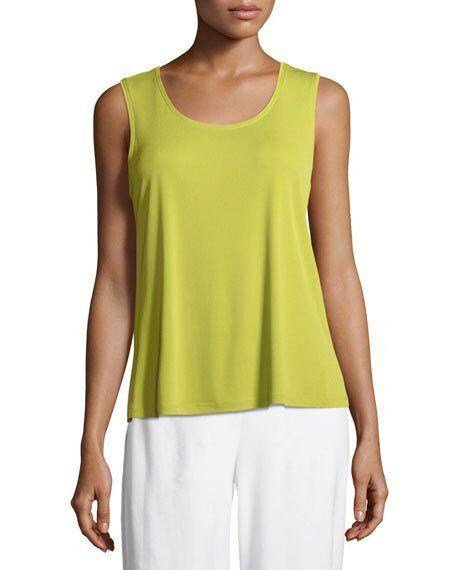 NWT M or L  Eileen Fisher Verbena Green 100% Silk Top +