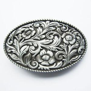 Details about Western Flower Cowboy Cowgirl Oval Belt Buckle Gurtelschnalle Boucle  de ceinture 24522c38758