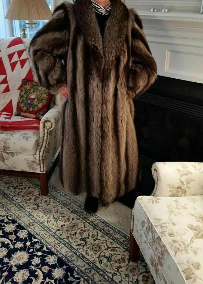 Full length Raccoon Coat by Richard Andes, medium size