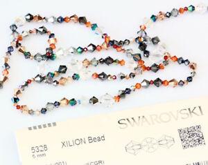 Original-SWAROVSKI-5328-Bicone-Perlen-viel-Groessen-amp-Crystal-Farbe-mit-Effekten