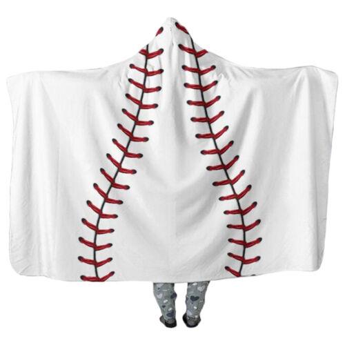 Oversized Soccer Pattern Hooded Sherpa Blanket Printed American Football Cloak
