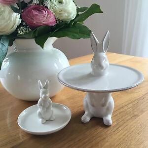 2 Design Teller Keramik Hase Häschen Osterhase Figur Osterdeko