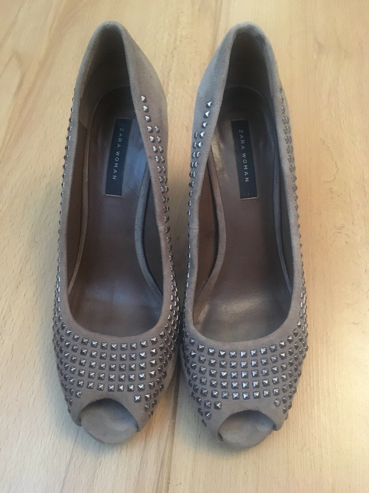ZARA WOMAN TAUPE SUEDE PEEP TOE STUDDED SHOES VGC SANDALS HEELS SIZE 39/ VGC SHOES 06fd45