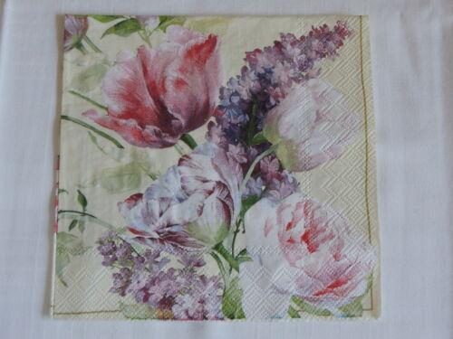 10 Servietten ELISABETHAN garden Flowers fleurs blumen Rosen tulpen 1//1 Flieder