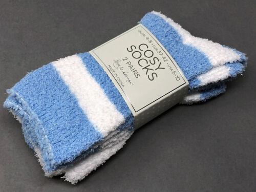 2 par señora extrasuaves calcetines de invierno cálido azul blanco brillo 37-42 Primark