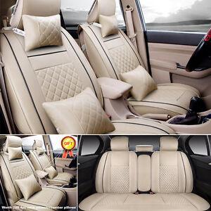 US-Car-PU-Leather-Seat-Covers-5-Seats-SUV-Sedan-Cushion-Mat-Front-Rear-Beige-Set