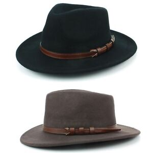 2eb8304272537d Fedora Hat Wool BLACK BROWN Hawkins Trilby Brim Mens Ladies Travel ...