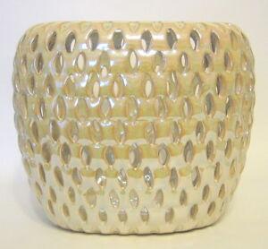 Image Is Loading Pearlized Cream Cutwork Ceramic Vase Three Hands Corp