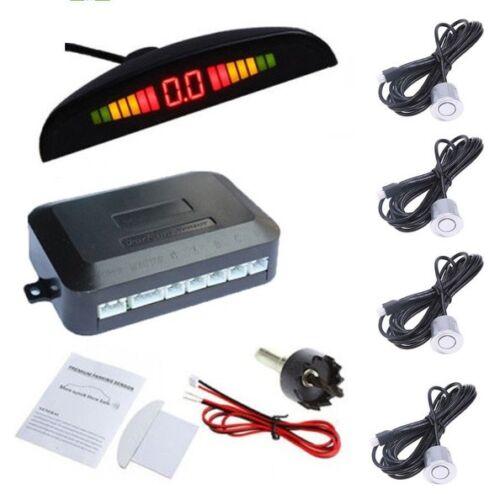 Front/&Rear Car Reverse 4 Parking Sensors Kit Silver Buzzer Alarm System+Display