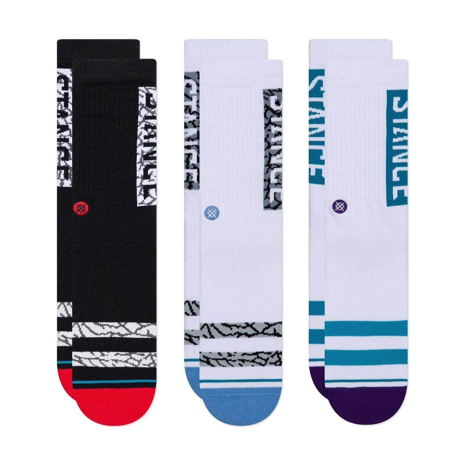 Stance OG 3er Pack Classic Socken Herren L 43 44 45 46 47 Schwarz Weiss