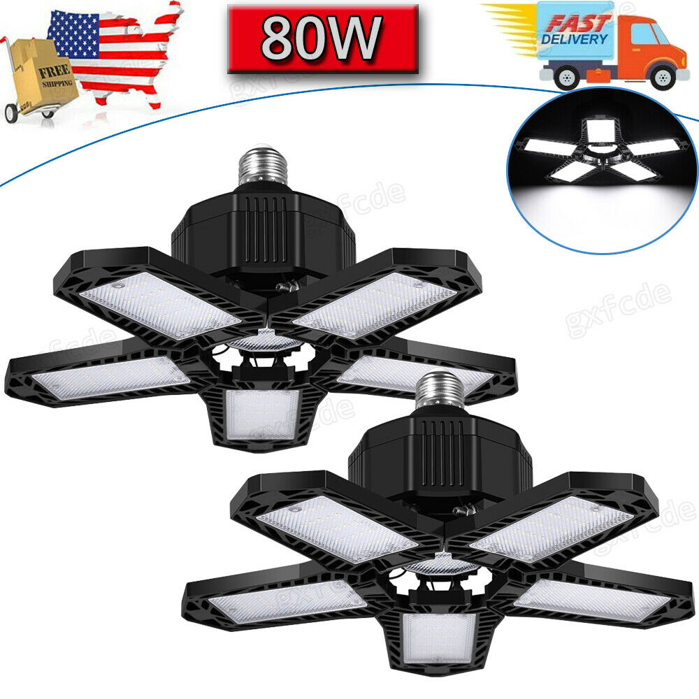 2 Pack 80W LED Garage Light Super Bright Shop Ceiling Lights Deformable Bulb USA