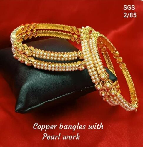 Copper Bangles With Pearl work  Set Of 4 Now Available On Meera/'s Fashion