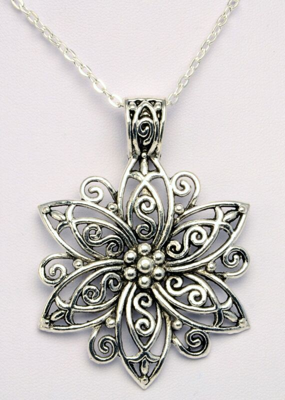 Hand Made Large Silver Colour Flower Pendant On Silver Colour Necklace Hcn198