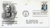 US Scott #1756, First Day Cover 7/3/78 Providence, RI Single George Cohan