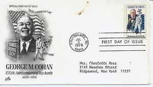 US-Scott-1756-First-Day-Cover-7-3-78-Providence-RI-Single-George-Cohan