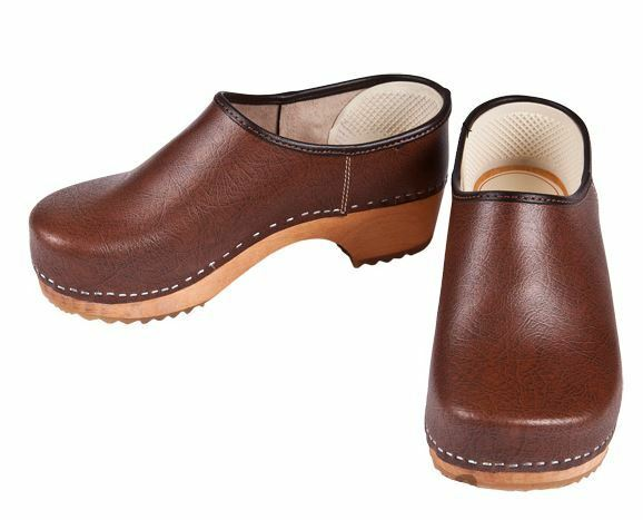 Uomo Wooden closed closed Wooden Pelle clogs marrone US color Medical US marrone a507e8