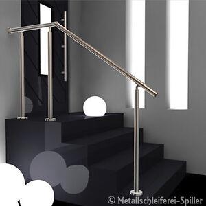 edelstahl gel nder eingang handlauf ohne f llung aufgesetzte montage 1000 2600mm ebay. Black Bedroom Furniture Sets. Home Design Ideas