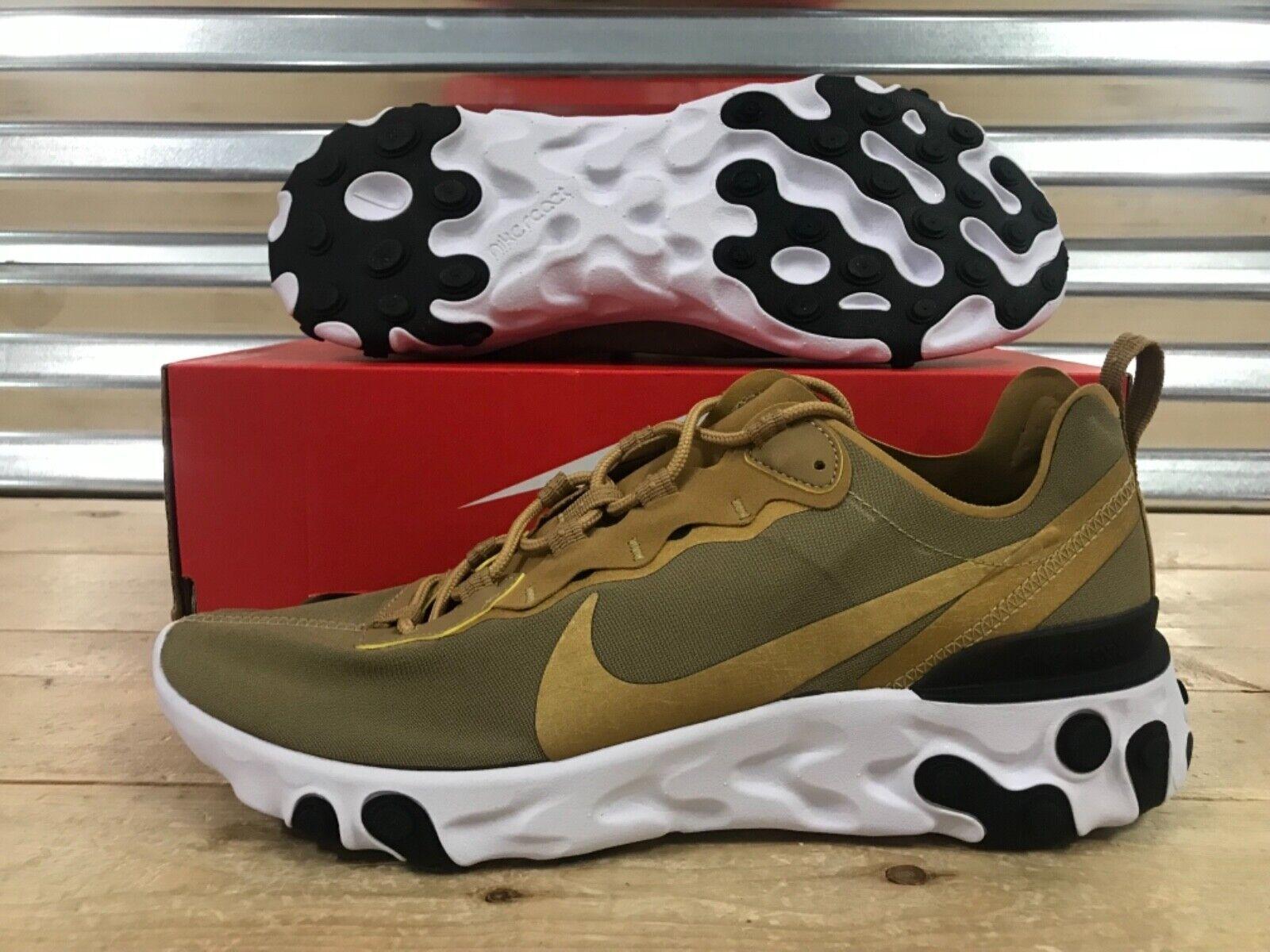 Nike React React Element 55 Running shoes Metallic gold Black SZ ( BQ6166-700 )