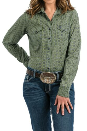Cinch Women/'s Green /& Navy Printed Snap Up Western Shirt MSW9200036