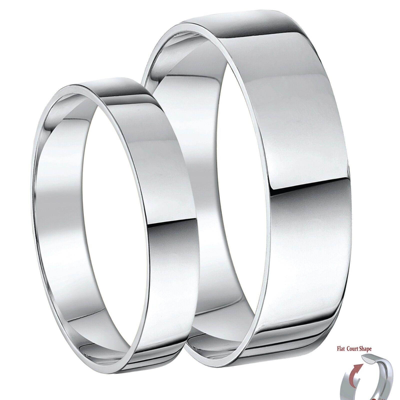 9 Karat Weiss gold Er & Sie Flachgericht Hochzeit Ring Bänder 3 & 6 Mm