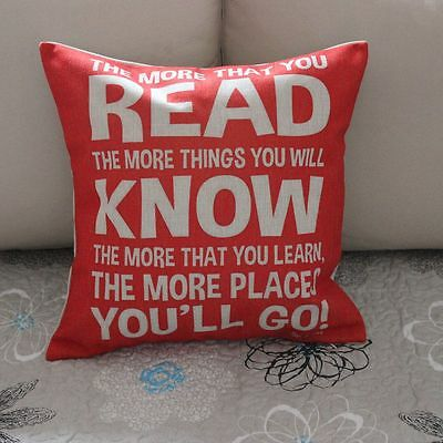 Vintage Dr.Seuss Quotes Cotton Linen Cushion Cover Throw Pillow Home Decor B354