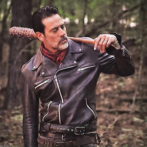 2ea3157e6 Details about The Walking Dead Negan Jeffrey Dean Morgan Black Leather  Jacket