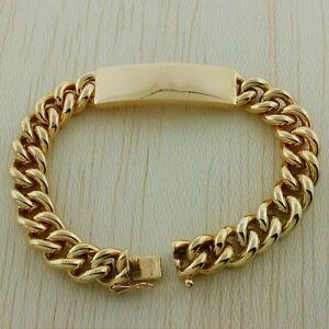 Vintage Hallmarked 9ct Gold Solid Curb Link ID Bracelet 80.2G 8