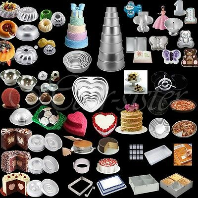 Cake Pan Baking Tin Mold Mould Fondant Layer Tier Ball Round Square Ring Tray HS