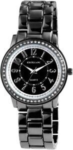 Excellanc-Damenuhr-Schwarz-Weiss-Titan-Look-Strass-Analog-Metall-X152171000104