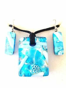 BLUE-SILVER-AUTHENTIC-VENETIAN-MURANO-GLASS-NECKLACE-EARRINGS-JEWELRY-SET-13MG