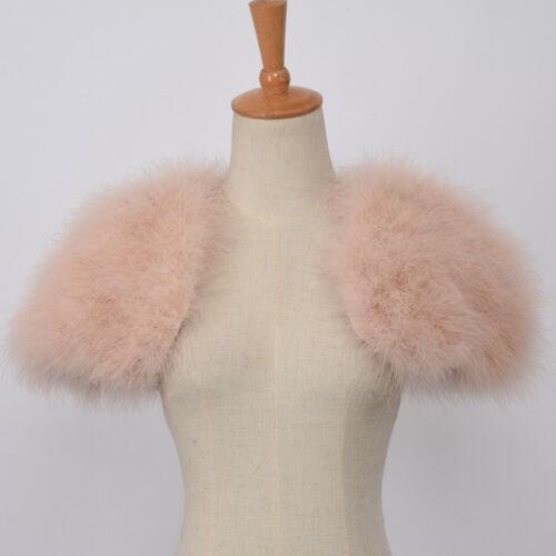 New Ostrich Feather Fur Poncho Wedding Stole Bridal Shawl Women Shrug 31264