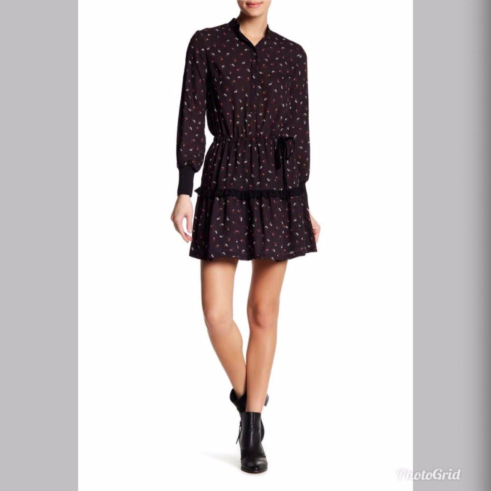 DAVID NAMAN damen Ornella Floral Dress Größe 40 EUR Small S Navy Long Sleeve