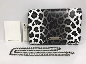 NWT-Marc-Jaobs-All-In-One-Leather-Leopard-Print-Shoulder-Bag-Clutch-20436900