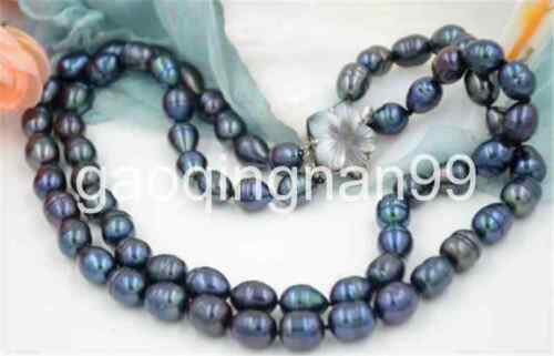 """2row 17/""""~18/"""" 13mm rice black Freshwater cultured PEARL necklace"""