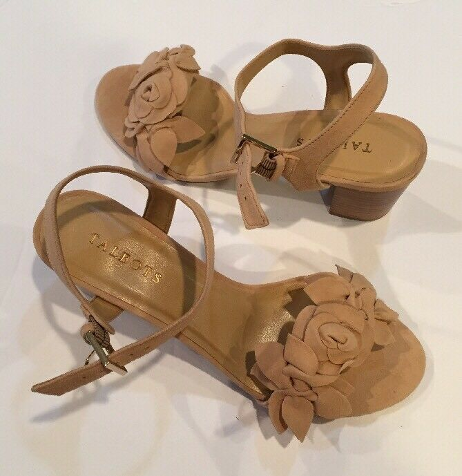Talbots Donna's Trisha Floral Suede City Sandals 8.5 M