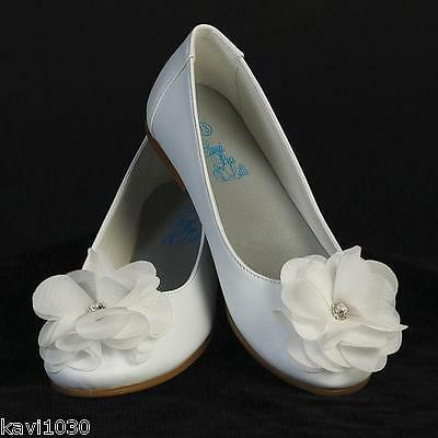 Girls WHITE Dress Shoes FLATS Flower & Rhinestone First Communion Size 9-4